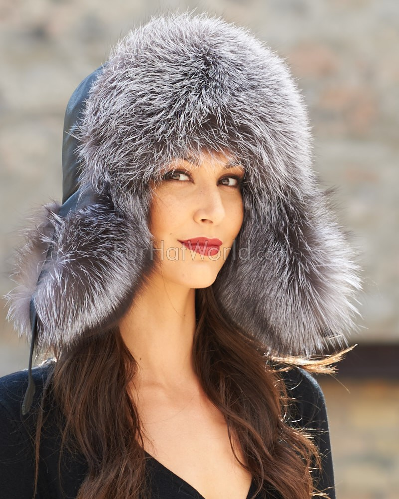 Womens Silver Fox Fur & Leather Trapper Hat