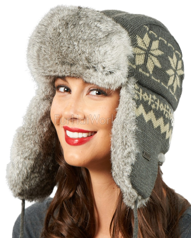 Womens Snowflake Knit Rabbit Fur Hat - Gray