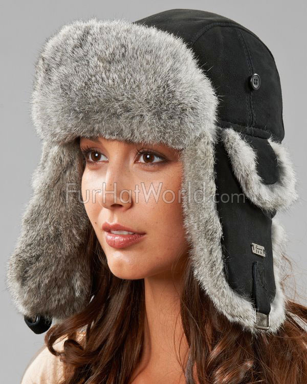 Womens Suede Leather Rabbit Fur Aviator Trapper Hat - Black/Gray