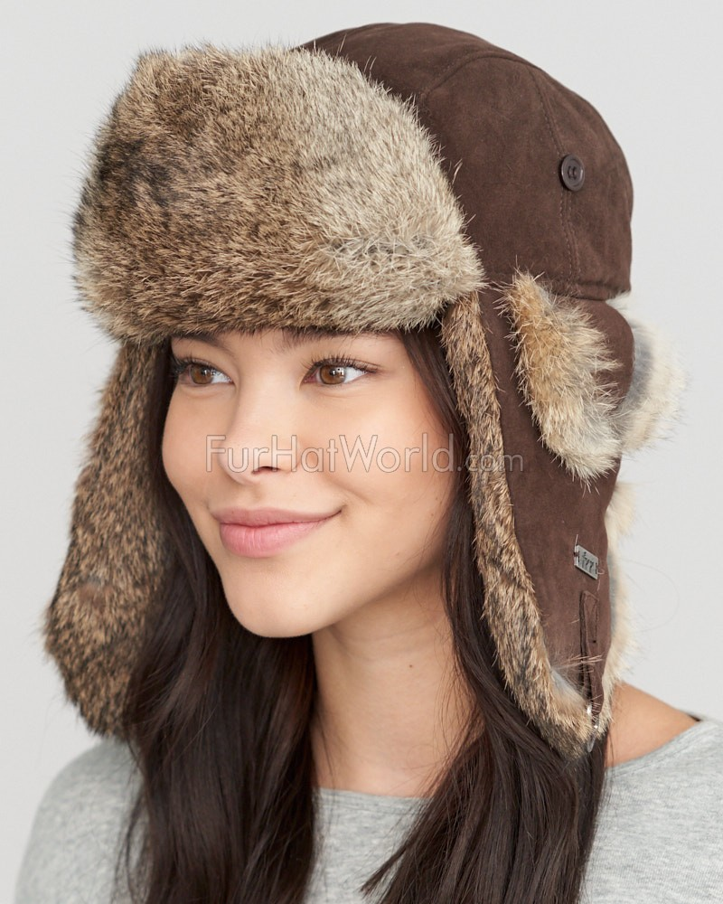 Womens Suede Leather Rabbit Fur Aviator Trapper Hat - Brown