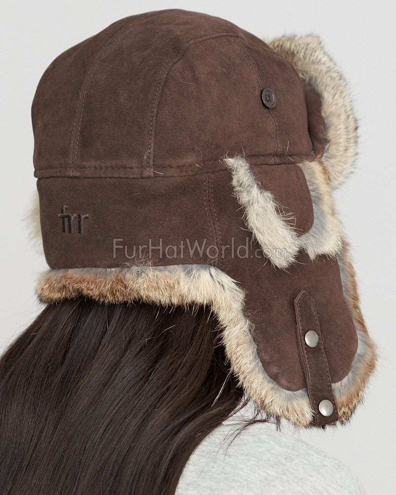 brown suede trapper hat with grey rabbit fur