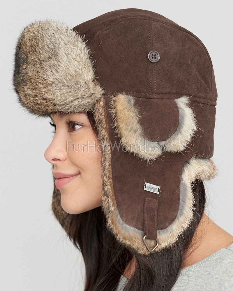 Ladies Brown Suede Trapper Hat with Grey Rabbit Fur  FurHatWorld.com 8a8af9ea31fb