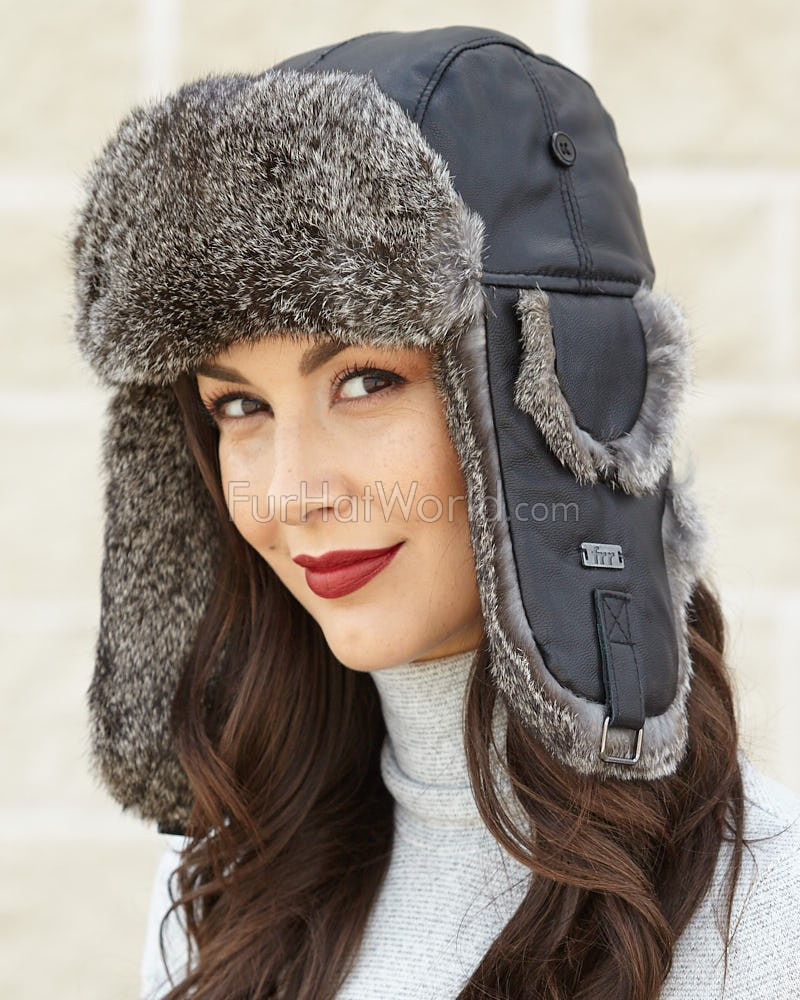 Ladies Black Leather Rabbit Fur Trapper Hat