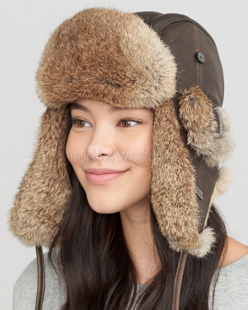 Womens Vintage Rodeo Leather Rabbit Fur Trapper Hat
