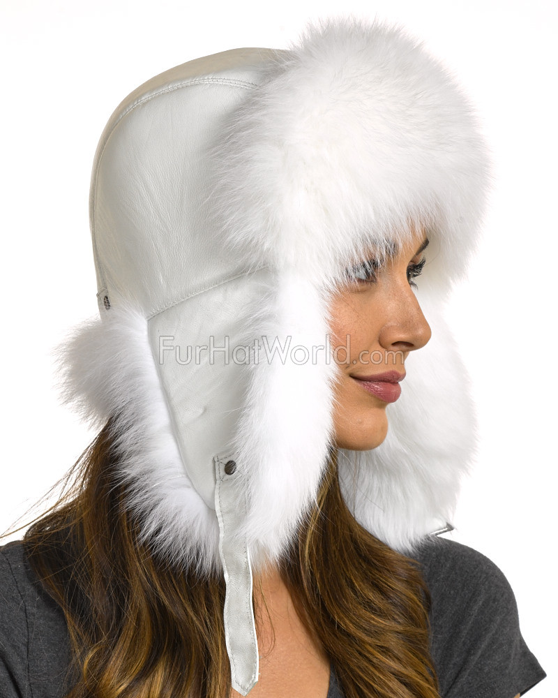 336bbb6622d3c1 Womens White Fox Fur & Leather Trapper Hat: FurHatWorld.com