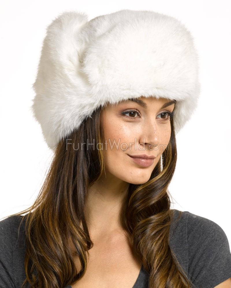 Womens Rabbit Full Fur Russian Ushanka Hat White