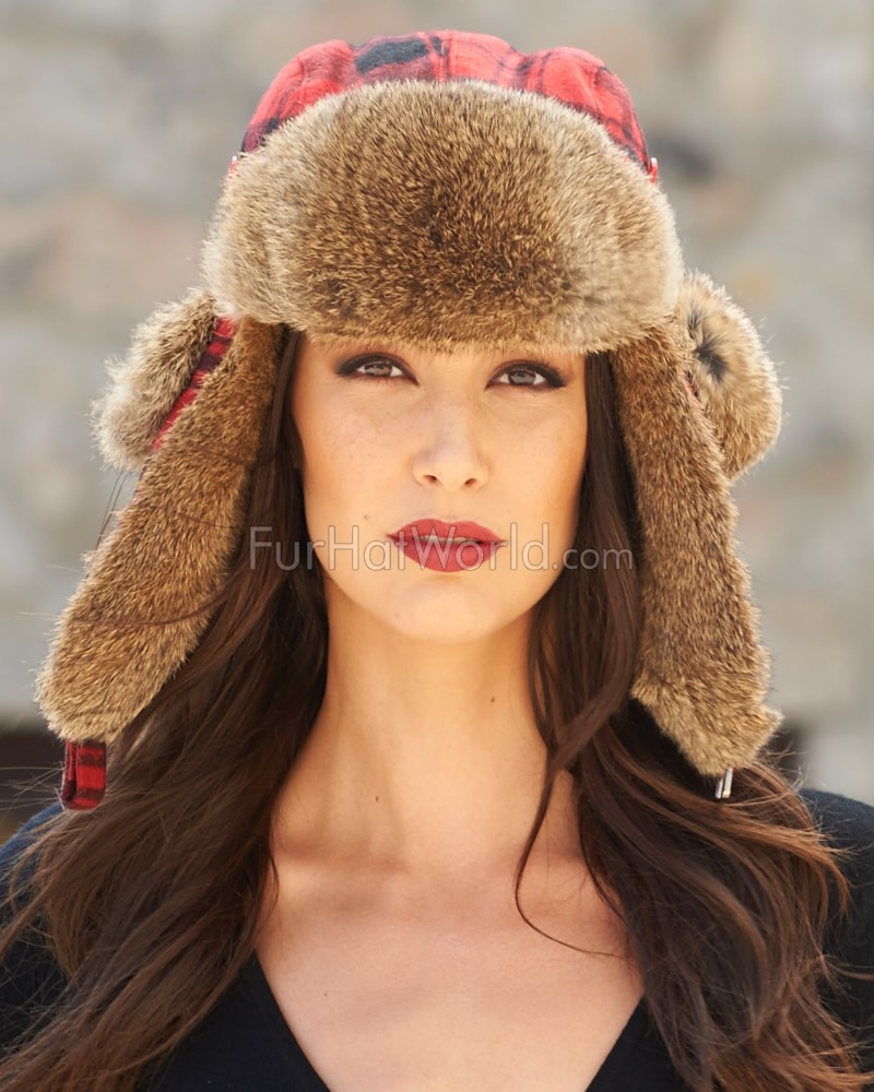 Womens Red Buffalo Check Rabbit Fur Trapper Hat