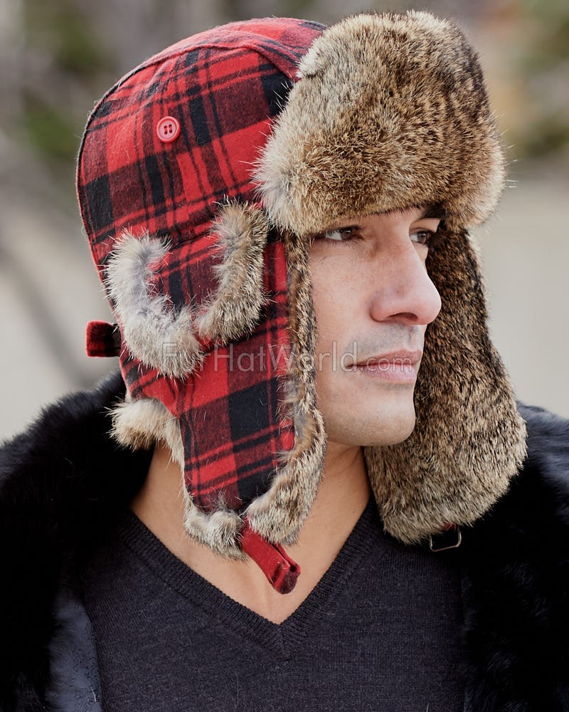 Wool Buffalo Check Rabbit Fur Aviator Hat - Red