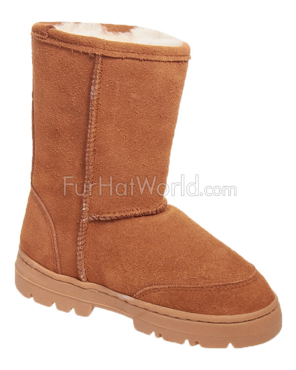 Childrens Tan Shearling Sheepskin Boot (Ages 6-10 years)