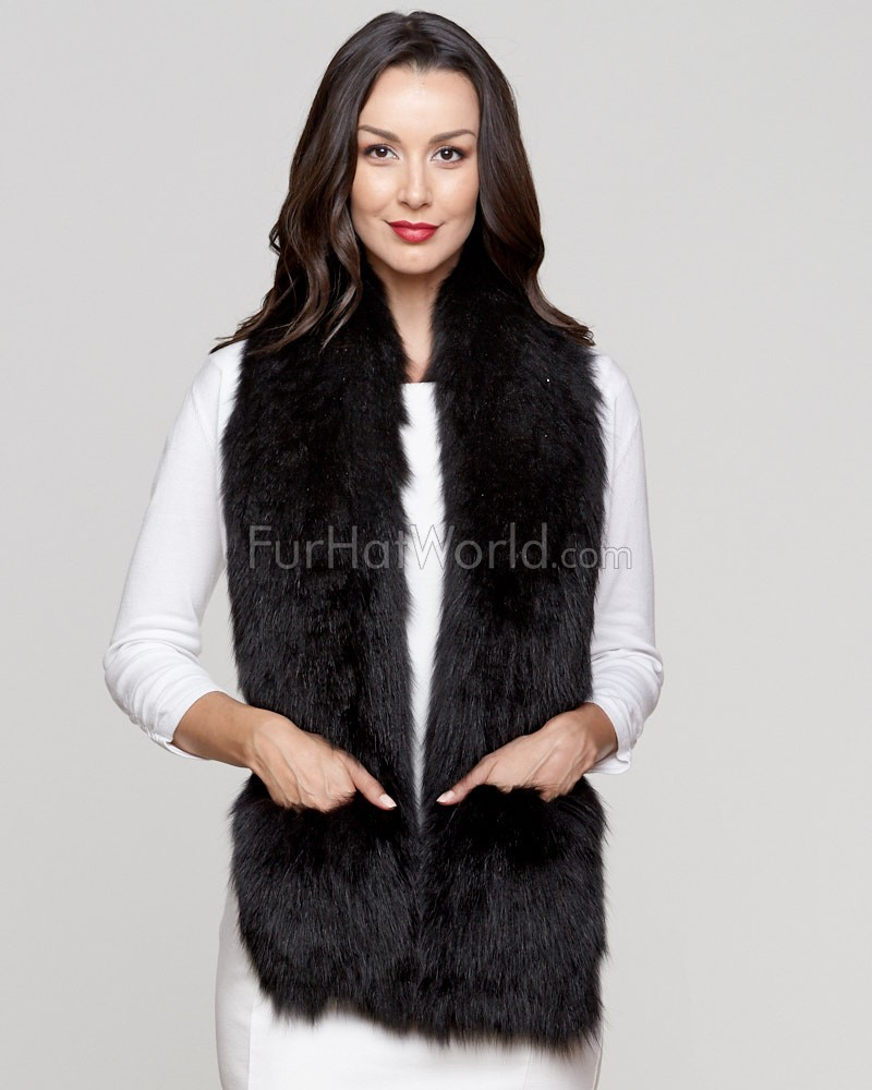 Zahra Wide Knit Fox Fur Scarf with Pockets in Black