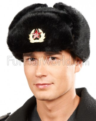 Faux Fur Russian Ushanka Hat with Badge - Black