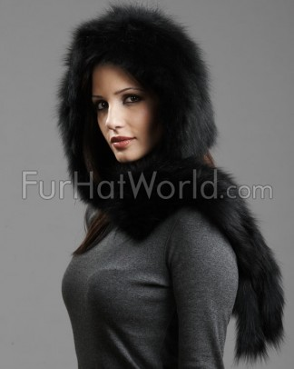 Knit Fox Fur Scarf with Hood - Black