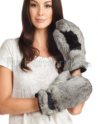 Rabbit Fur Mittens - Grey