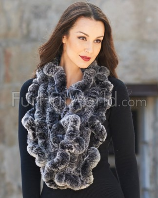 Rex Rabbit Fur Scarf - Black Frost