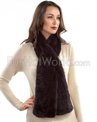 Rex Rabbit Pull Through Fur Scarf - Brown