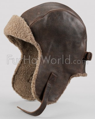Vintage Distressed Leather Pilot Hat