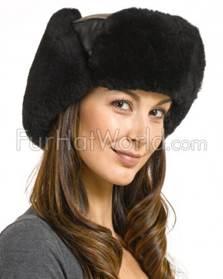 ae8171f9ef5 Ladies Sheepskin   Leather Russian Miliatry Hat in Black  ukai.uniza.sk.  Womens Alaska Shearling Sheepskin Trapper ...