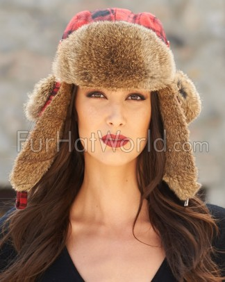 Womens Wool Buffalo Check Rabbit Fur Aviator Trapper Hat - Red