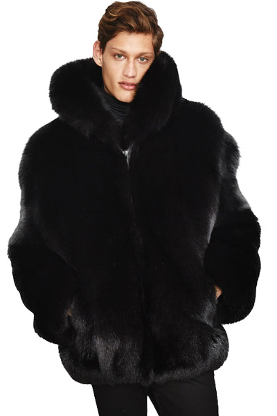 The Joshua Black Fox Fur Jacket with Large Standup Collar