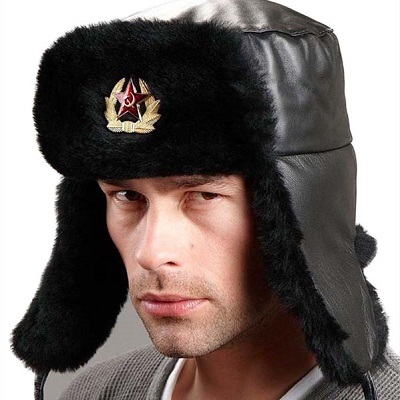 Black Russian Mouton Sheepskin Hat