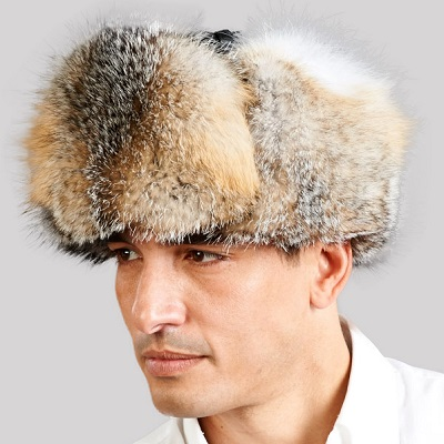 Gray fox trapper hat