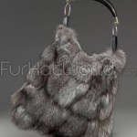 Indigo Fox Fur Sections Horn Handbag