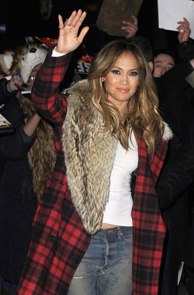 Jennifer-Lopez-wearing-Michael-Kors-Tartan-Plaid-Fur-Collar-Wool-Coat-and-Giuseppe-Zanotti-Wedge-Sneakers-1
