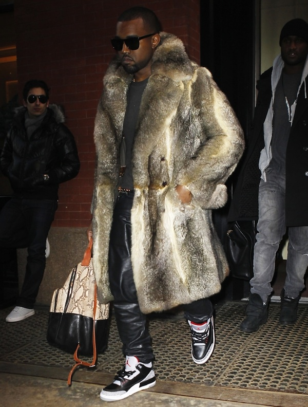 Kanye-West-fur-coat-leather-pants-air-jordan-3-sneakers