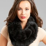 Knitted_Mink Fur_Cowl_Snood_Scarf_Black_2166