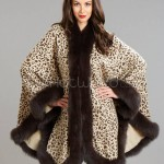 Cashmere Cape with Fox Fur Trim - Leopard Print
