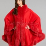 Large Cashmere Cape with Fox Fur Trim - Red Fire