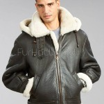 Men's Shearling Bomber Jacket with Zip Out Hood