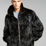 Mens Reversible Mink Sections Bomber Jacket