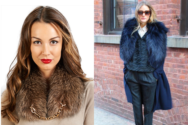 Stephanie Whiskey Wide Fox Fur Collar with Gold Chain