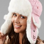 Pink Trapper Hats with White Rabbit Fur