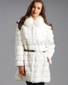 Rabbit Fur Princess Coat with Fox Fur Collar