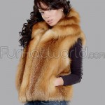 Red Fox Fur Vest with Collar