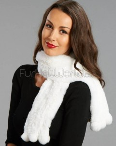Rex Rabbit Fur Pull Through Scarf White