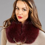 Wide Fox Fur Collar with Gorgeous Gold Link Chain - Burgundy