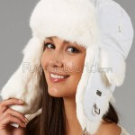 Winter White Rabbit Fur Trapper Hat