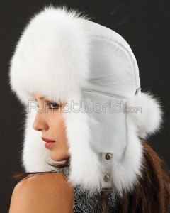 Womens White Fox Fur & Leather Trapper Hat