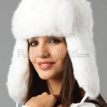 Womens White Full Fur Rabbit Russian Hat