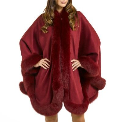 burgandy fox fur cape
