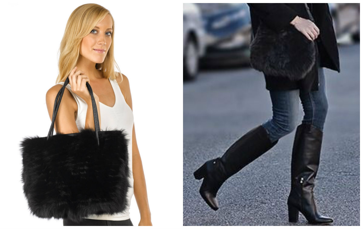 The Aria Black Fox Fur Hand Bag