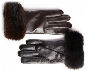 Mink trim wool lined leather gloves