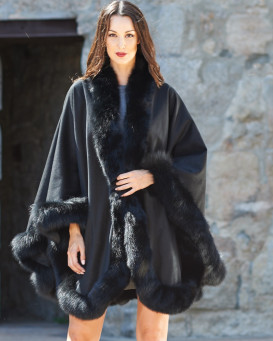 Classic Cashmere Cape With Fox Fur Trim in Black