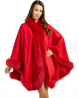 Bristol Cashmere Cape With Fox Fur Trim in Fiery Red