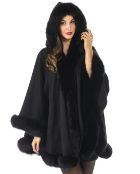 Dinah Cashmere Cape with Detachable Hood & Fox Fur Trim