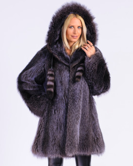 Adalyn Blue Raccoon Fur Coat with Hood