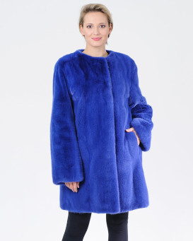 Alaina Collarless Blue Mink Fur Coat